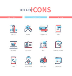 contact us - line design style icons set vector image