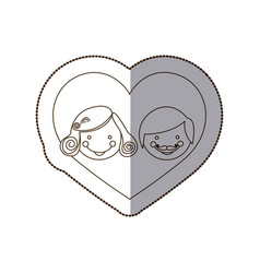 couple together inside the heart vector image