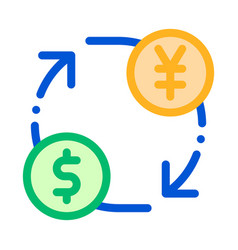 currency money dollar yen thin line icon vector image