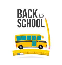 cute cartoon school bus with pencil ruler eraser vector image
