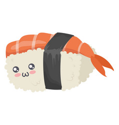cute kawaii sushi character icon isolated on white vector image