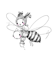 Cute little fairy and the bee vector