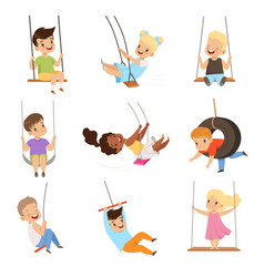 Cute little kids swinging on rope swings boys and vector