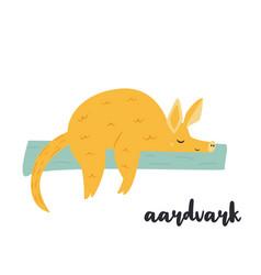 cute orange aardvark on white background vector image