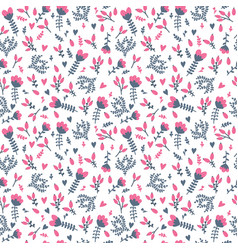 cute seamless floral pattern in doodle style on vector image