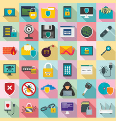 Cyber security icon set flat style vector