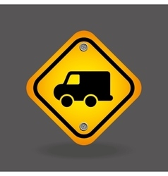 Delivery truck yellow road street sign vector