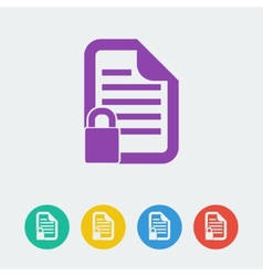 Document lock flat circle icon vector