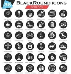 Ecology circle white black icon set Ultra vector image