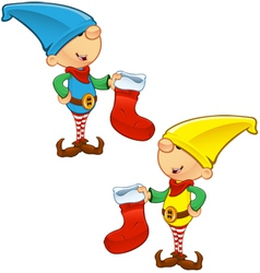Elf Mascot Holding Stocking vector image