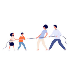 Family game child parents pull rope tug war vector