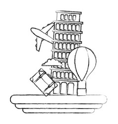 Figure leaning tower of pisa with air balloon vector