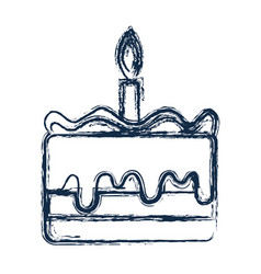 Figure tasty cake desset with candle to eat vector