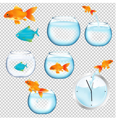 Fish and aquariums set vector