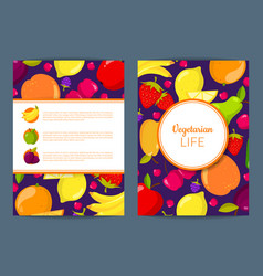 flat fruits vegan card brochure flyer vector image
