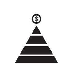 Flat icon in black and white financial pyramid vector