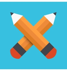 flat pencil icon on blue background vector image