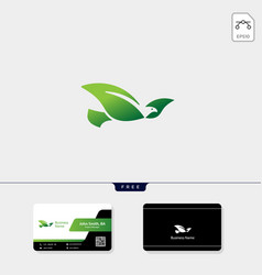 flying bird logo template free business card vector image