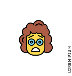 Frowning with open mouth emoji yellow girl vector