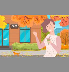 Girl near cafe autumn golden leaves fall down vector