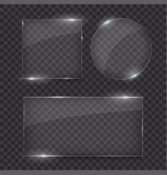 glass plates set different glass shapes glass vector image