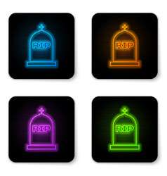 Glowing neon tombstone with rip written on it vector