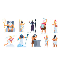 greek gods cartoon ancient mythology characters vector image