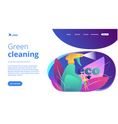 Green cleaning concept landing page vector