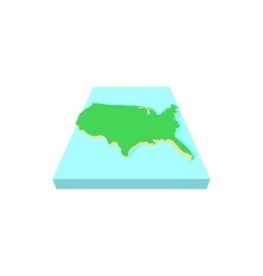 Green map of USA icon cartoon style vector image