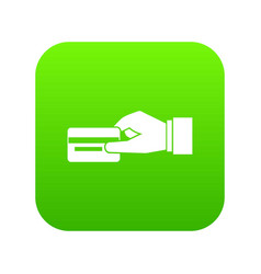 hand holding a credit card icon digital green vector image