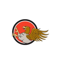 Hippogriff Prancing Side Circle Cartoon vector