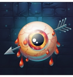 Horrible bloody arrow pierced eyeball vector image