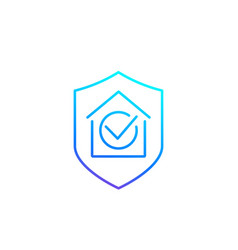 House insurance line icon vector