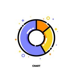 Icon of pie chart with 3 segments for presentation vector