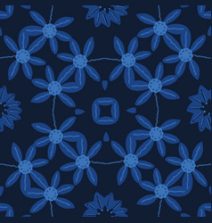 Indigo blue hand painted daisy large scale floral vector