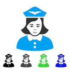 Joyful airline stewardess icon vector