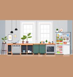Kitchen interior empty nobody apartment with open vector