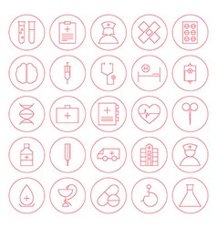 Line circle medical health care icons set vector