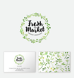 logo fresh market seamless pattern vector image