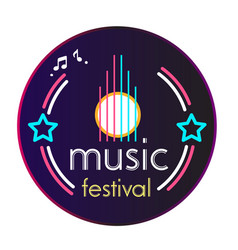 neon music festival vinyl disc record background v vector image