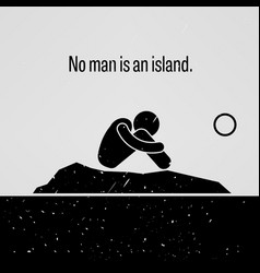 No man is an island stick figure pictograph vector