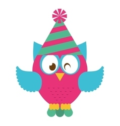 Owl bird cute with hat party icon vector