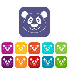Panda icons set flat vector