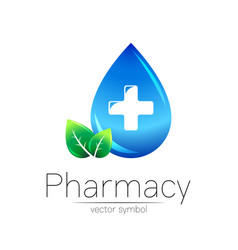Pharmacy symbol blue drop with cross and vector