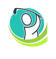 Professional golf club emblem with cartoon player vector