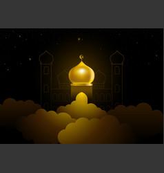 Ramadan kareem greeting with golden dome mosque vector