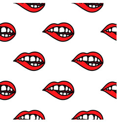 red lips biting doodle seamless pattern background vector image