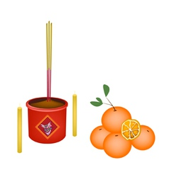 Ripe Orange Fruits for New Year Worship vector