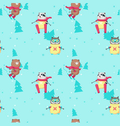 seamless pattern with cute skiing animals vector image