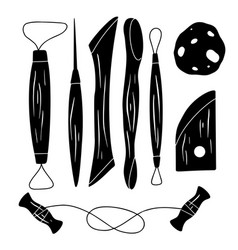 set black silhouette tools for pottery hobbies vector image